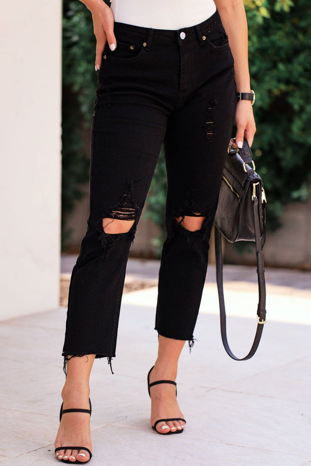 Black Distressed Denim Jeans