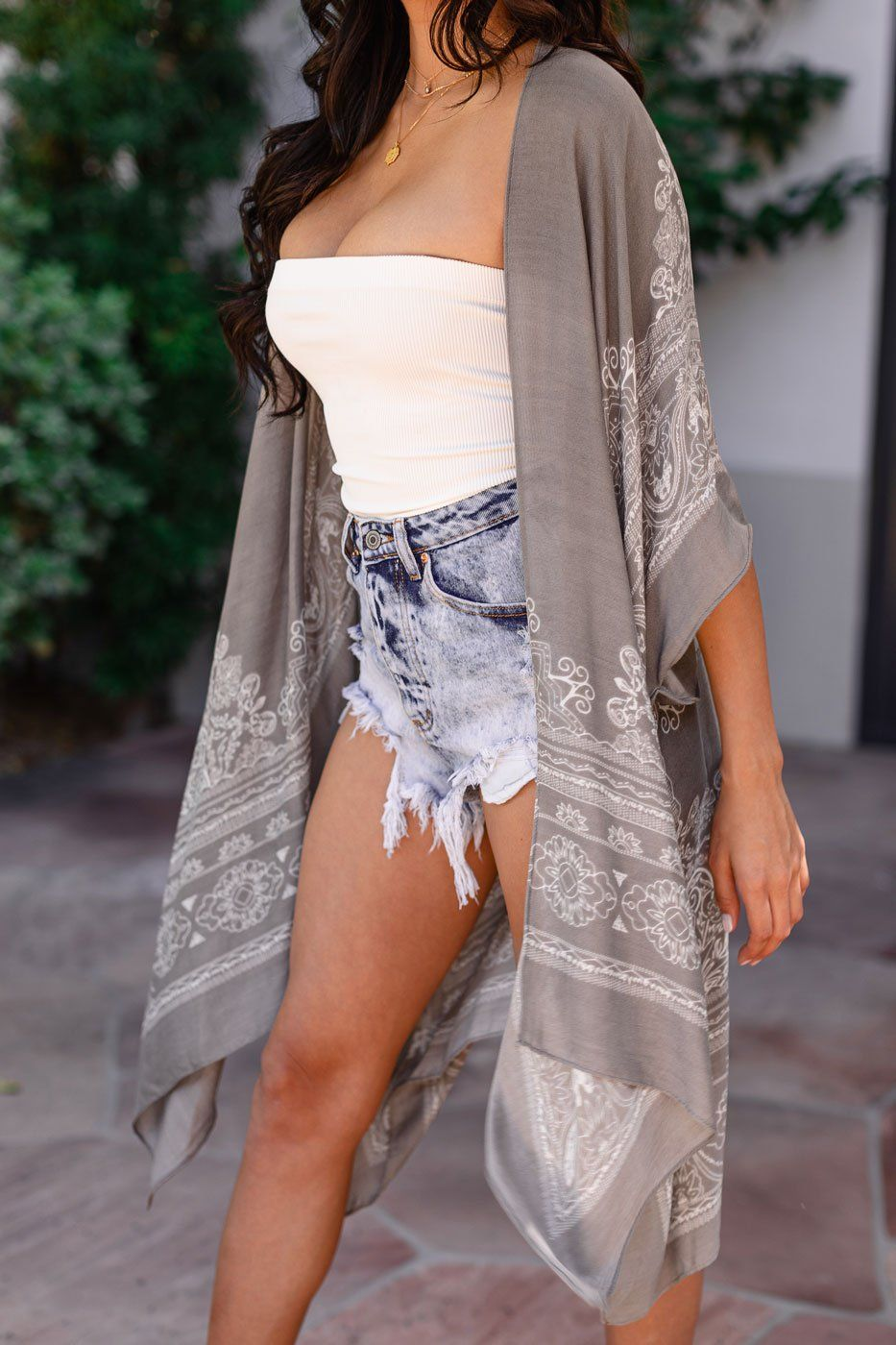 Break Of Dawn Grey Kimono