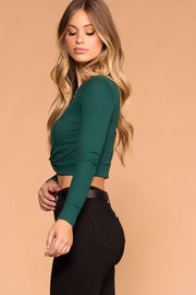 Hunter Green Twist Front Crop Top