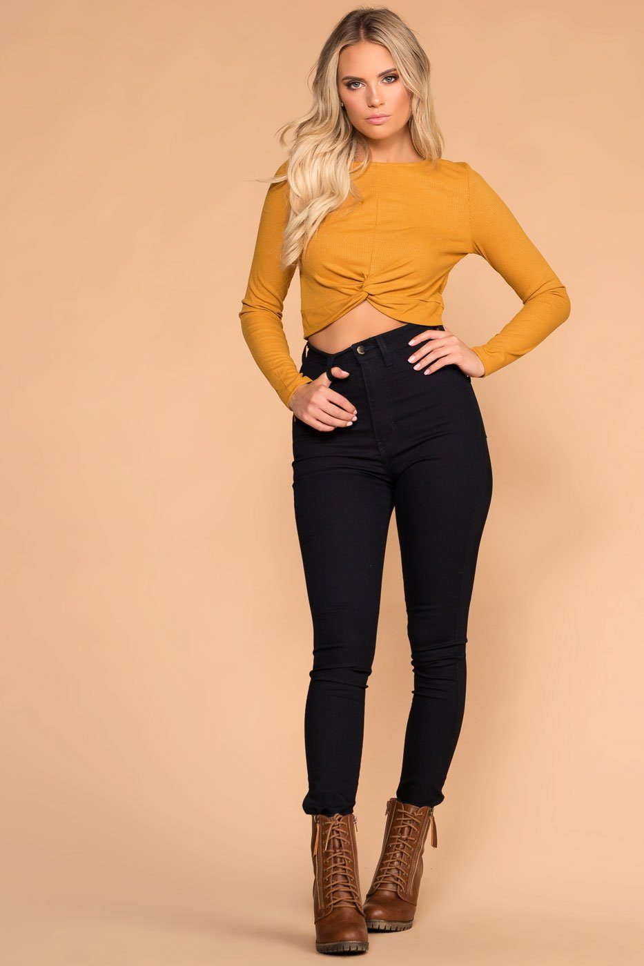 Brighton Mustard Twist Front Crop Top