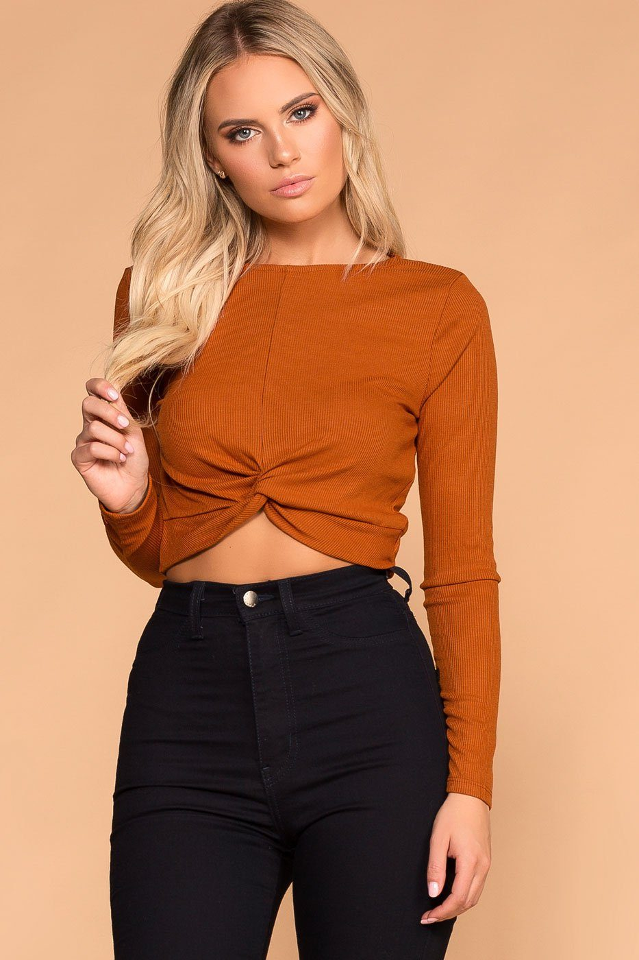 Rust Twist Front Crop Top