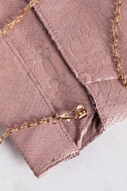 Bring It Mauve Vegan Crocodile Envelope Clutch