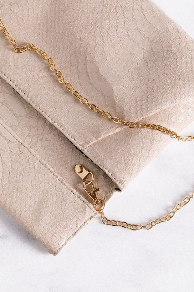 Bring It Taupe Vegan Crocodile Envelope Clutch