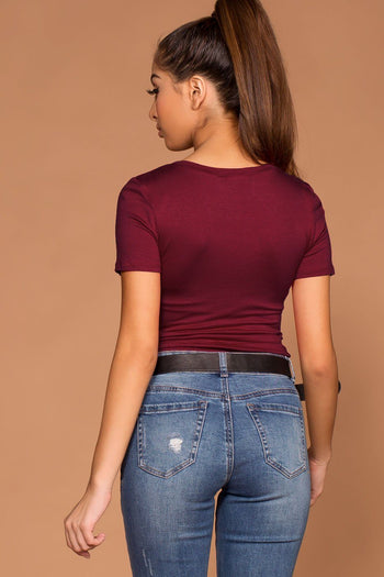 Brinley Burgundy Twist Crop Top