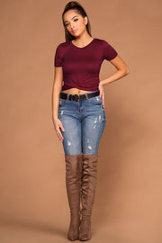 Burgundy Twist Crop Top