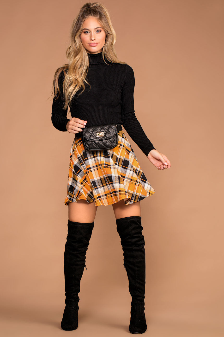 Britney Plaid Skater Skirt - Honey