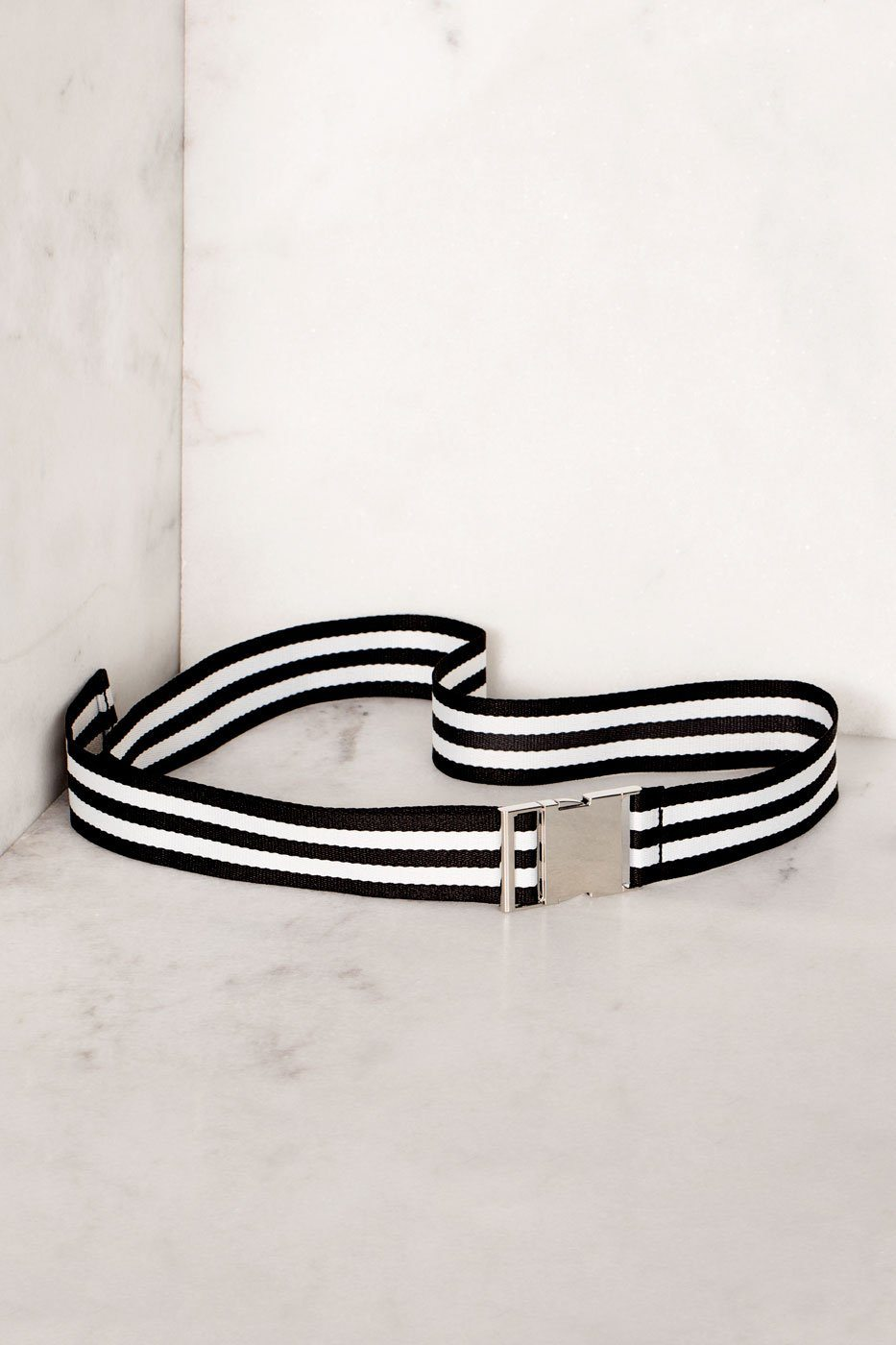 Black and White Striped Belt