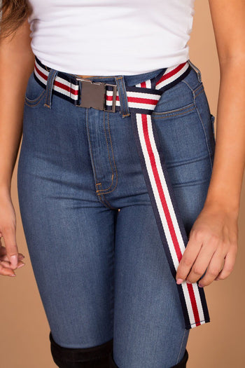 Britt Navy and Red Striped Belt | Shop Priceless