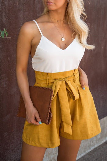 Mustard Romper with Pockets