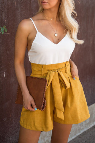 West Coast Dream Mustard Belted Romper