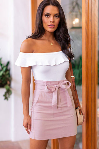 Manda Coral Pink Button Off The Shoulder Crop Top