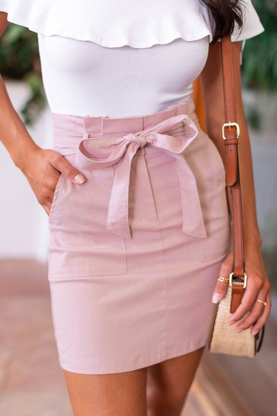 Blush Bow Pencil Skirt