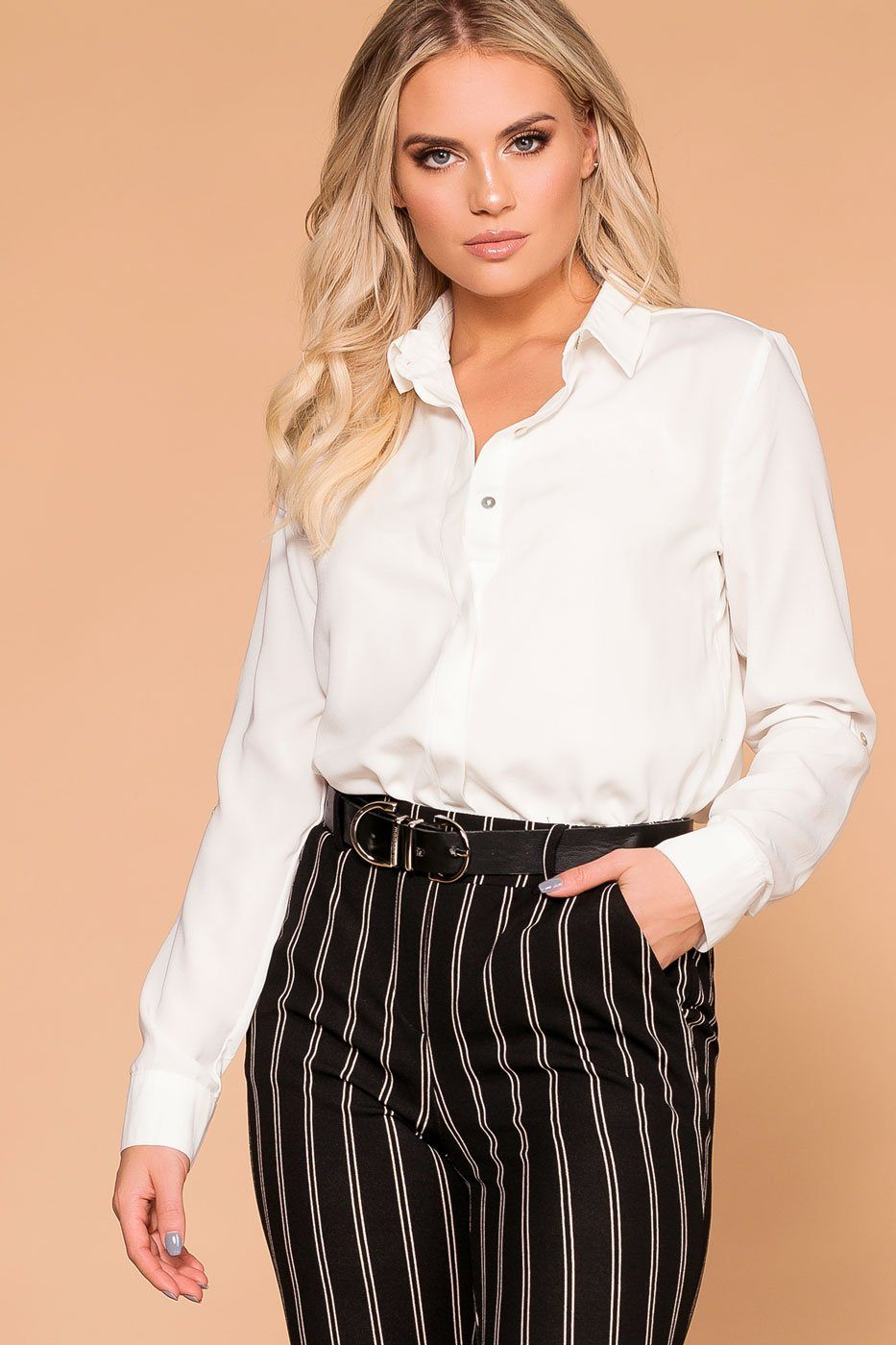 89737fb48761 Busy Bee Ivory Button Down Top