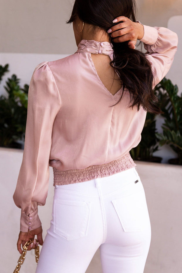 By Moonlight Mauve Satin Long Sleeve Top