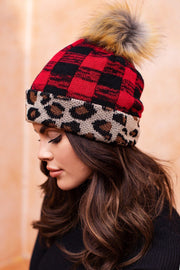 Leopard and Plaid Beanie