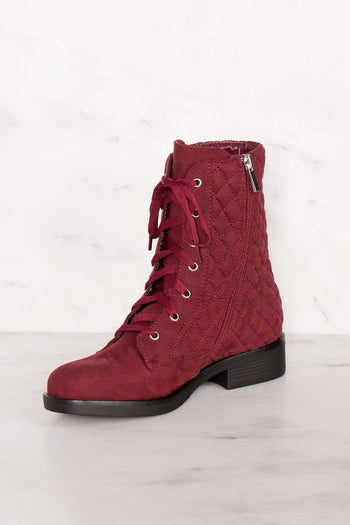 Burgundy | Combat Boots | Suede | Quilted | Priceless