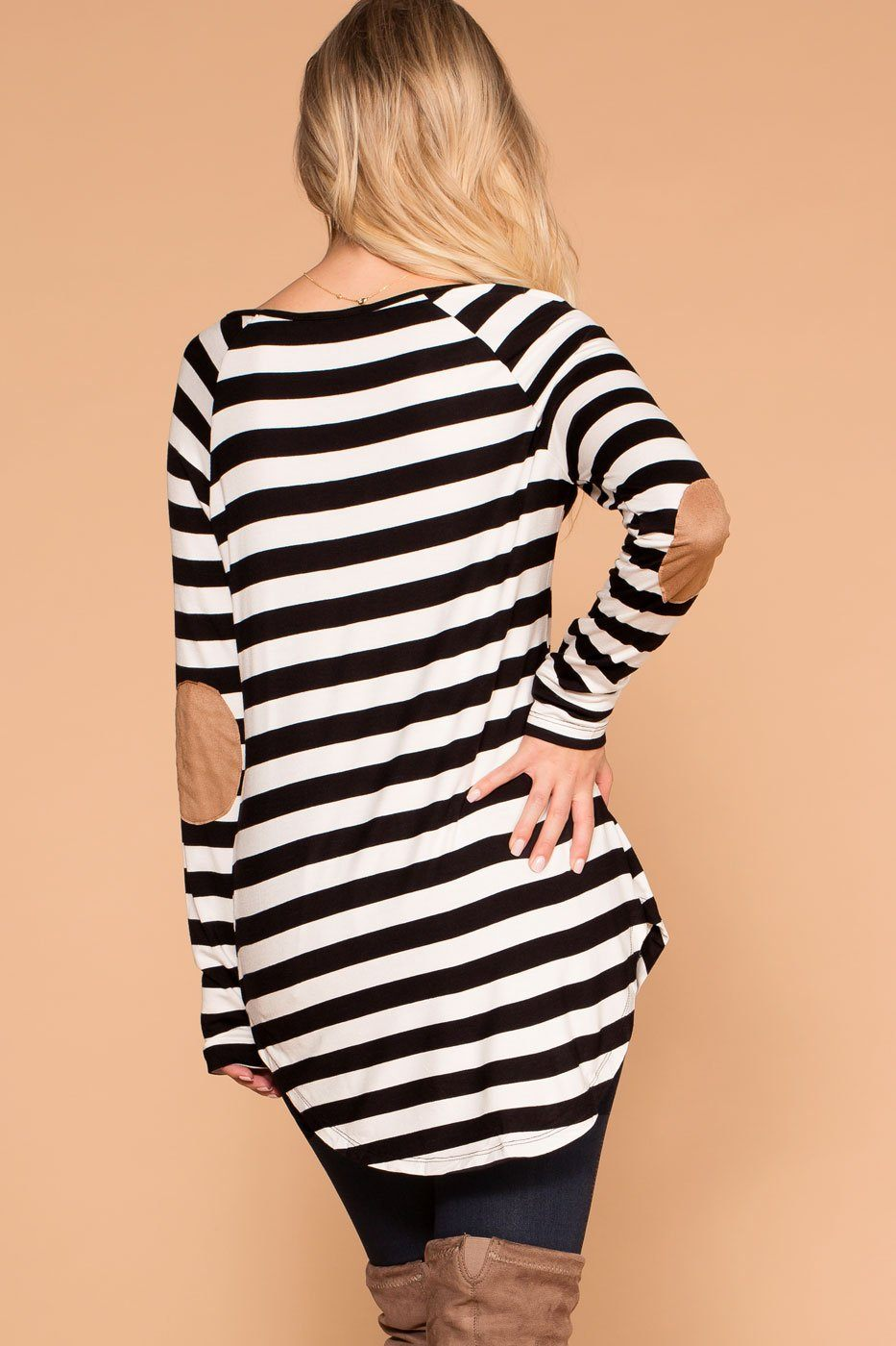 Priceless | Black | Striped Top | Elbow Patch Top | Womens