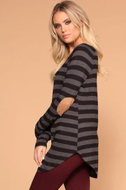 Charcoal Striped Elbow Patch Top