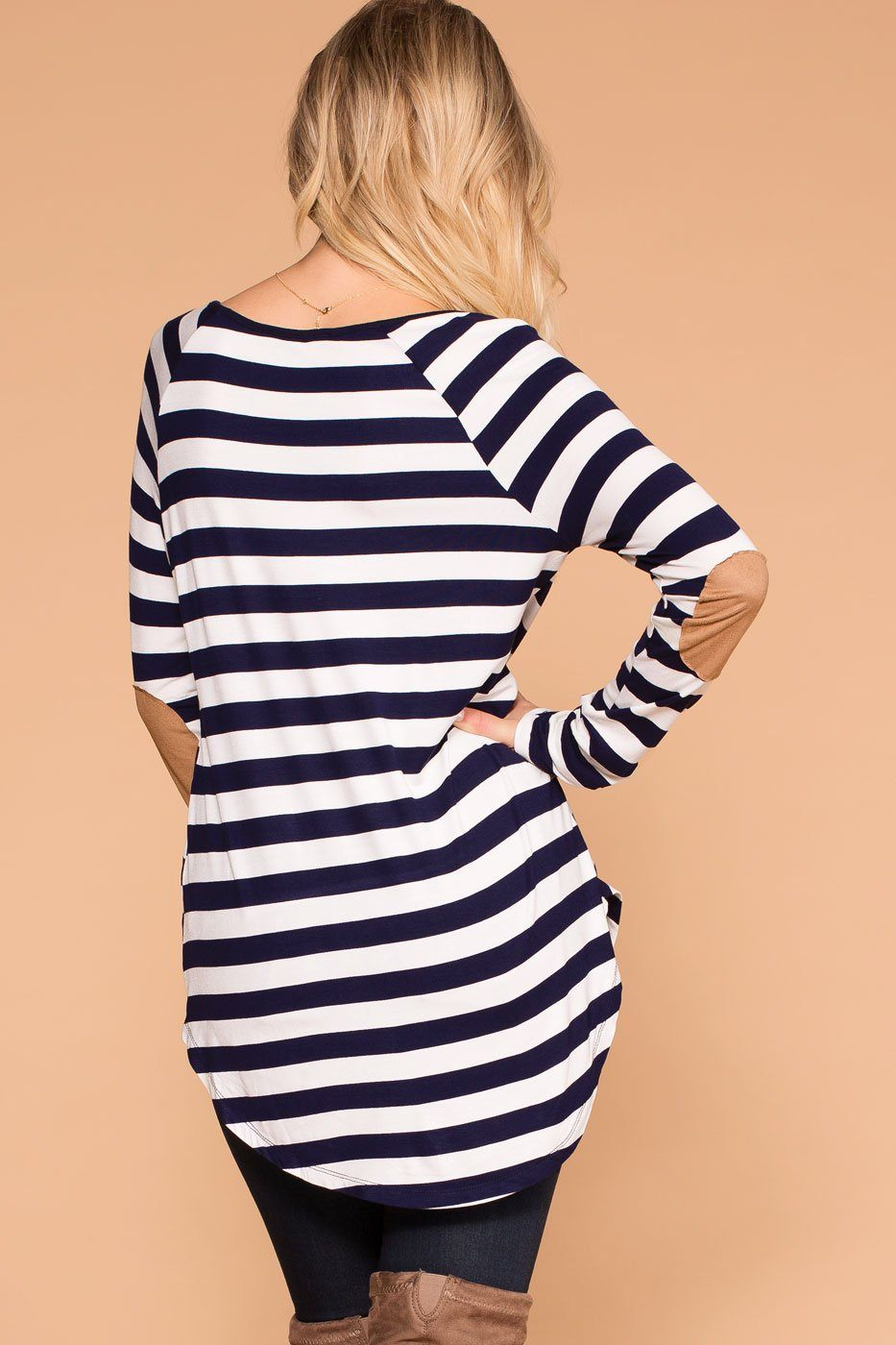 Priceless | Navy | Striped Top | Elbow Patch Top | Womens