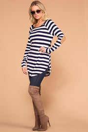 Navy Striped Elbow Patch Top
