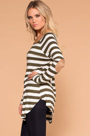 Olive Striped Elbow Patch Top