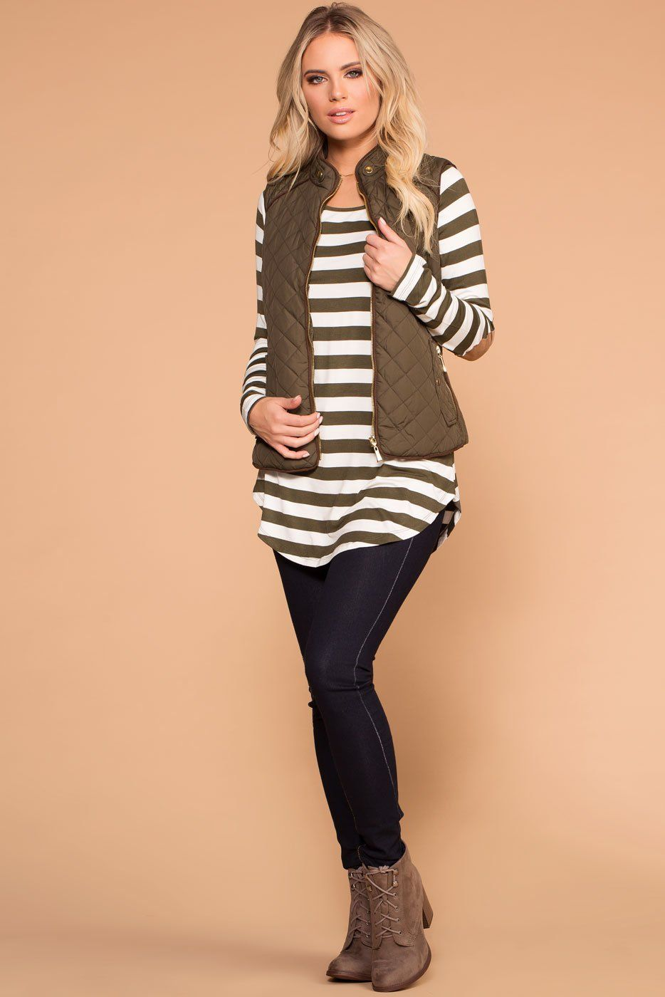 Priceless | Olive | Striped Top | Elbow Patch Top | Womens
