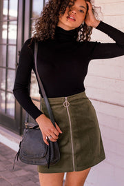 Olive Zip Up Corduroy Skirt
