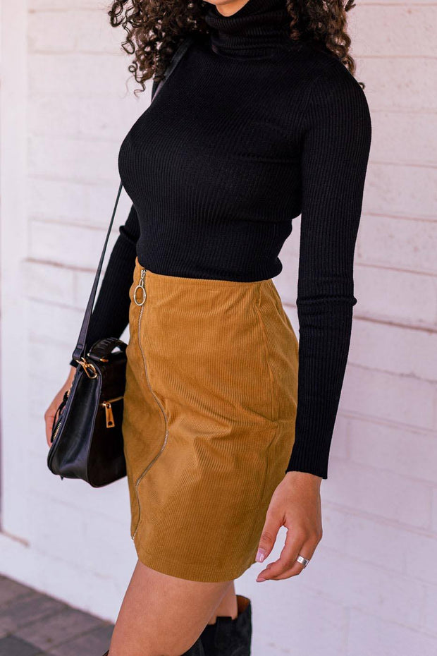 Tan Zip Up Corduroy Skirt