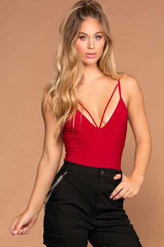 Tie A Ribbon High Waisted Paperbag Cuffed Shorts - Red