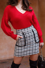 Cammie White Plaid Skirt