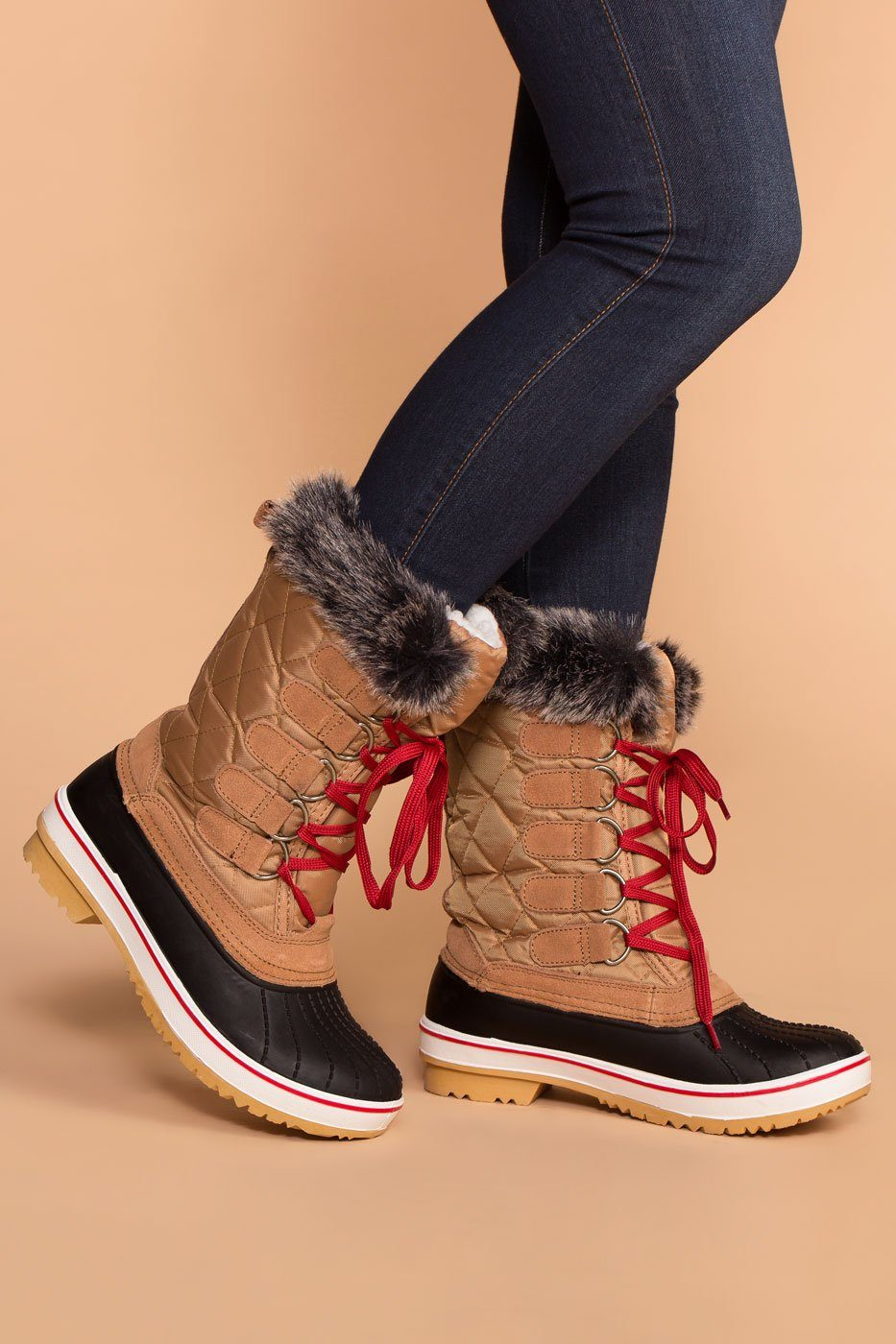 Priceless | Tan | Winter Lace Up Boots | Shoes