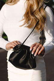 Cara Black Clamshell Clutch Purse