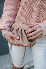 Taupe Clamshell Clutch Purse
