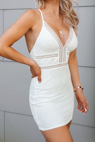 Take The Plunge White Skater Dress