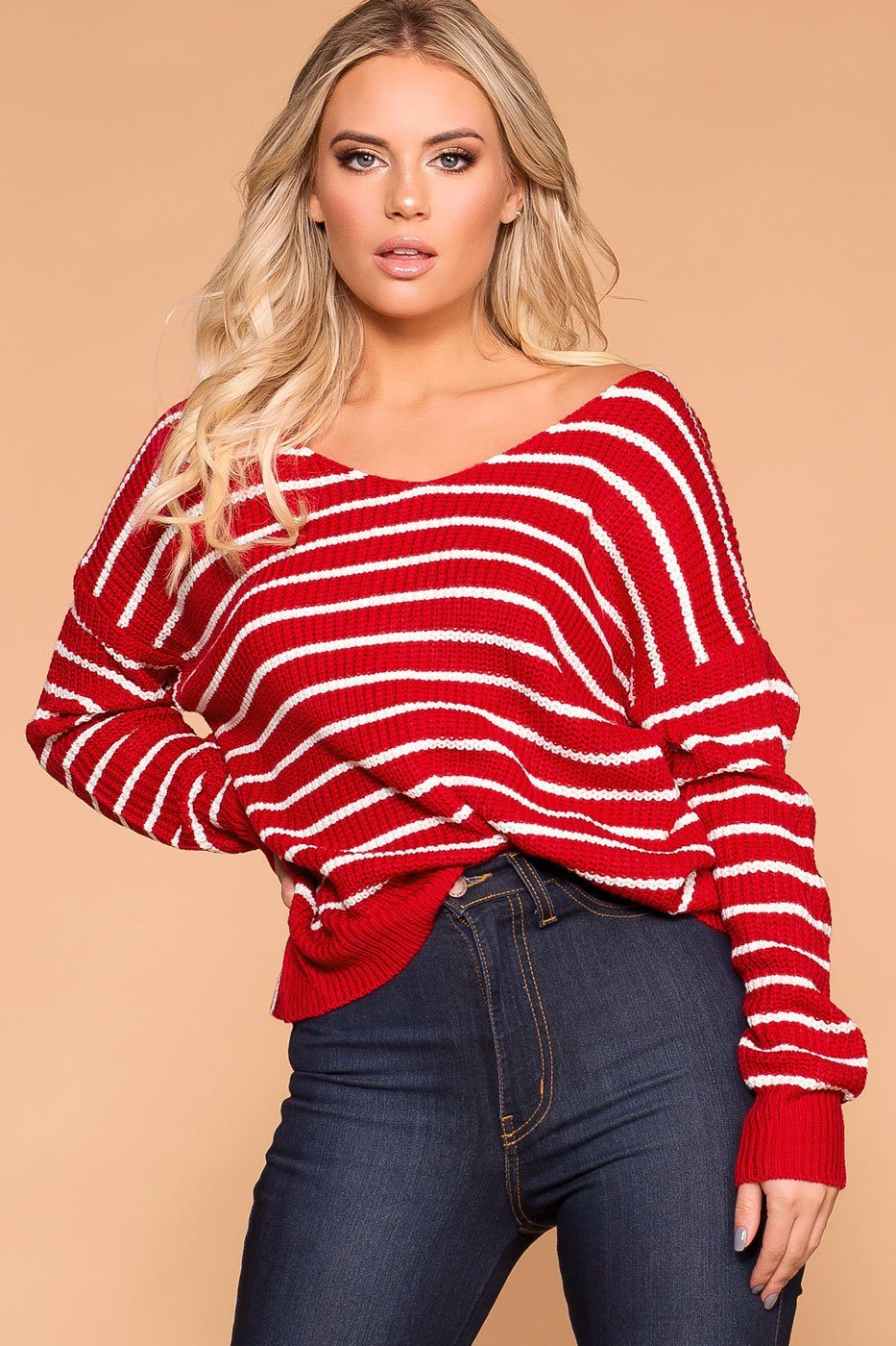 Red Stripe Twist Back Knit Sweater