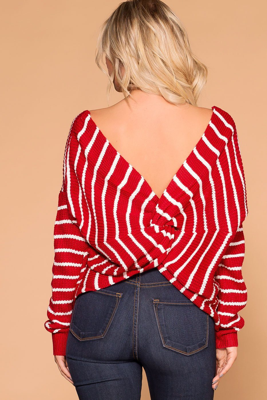Priceless | Red Stripe | Twist Back Sweater | Knit Sweater | Womens