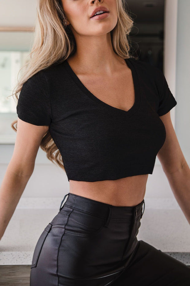 Carrie Black V-Neck Crop Top