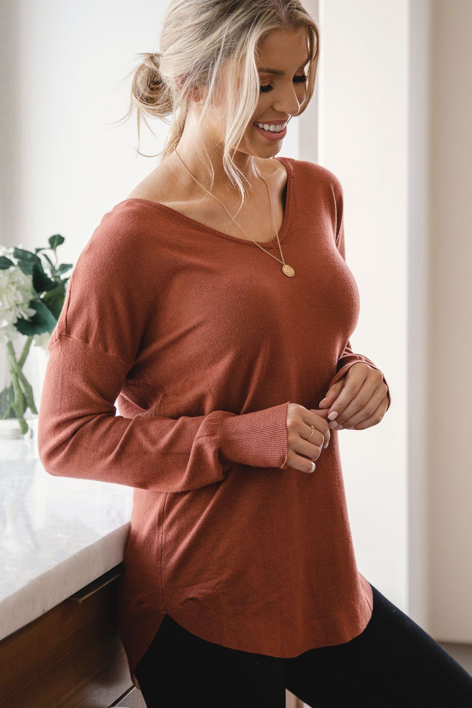 Brick Soft Long Sleeve V-Neck