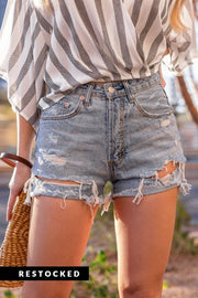 Caspian Distressed Denim Cut-Off Shorts