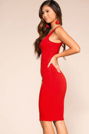 Red Midi Bodycon Dress