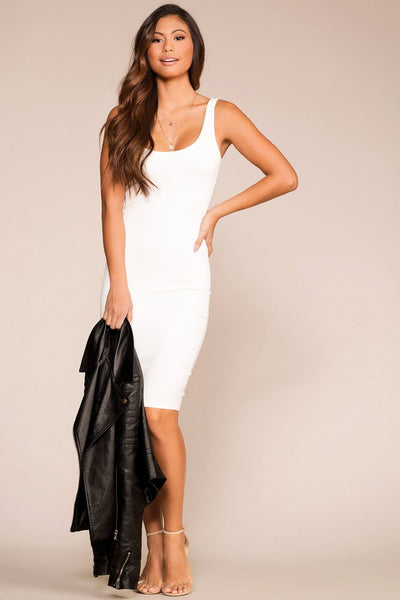 Cassandra White Midi Bodycon Dress | French Kiss
