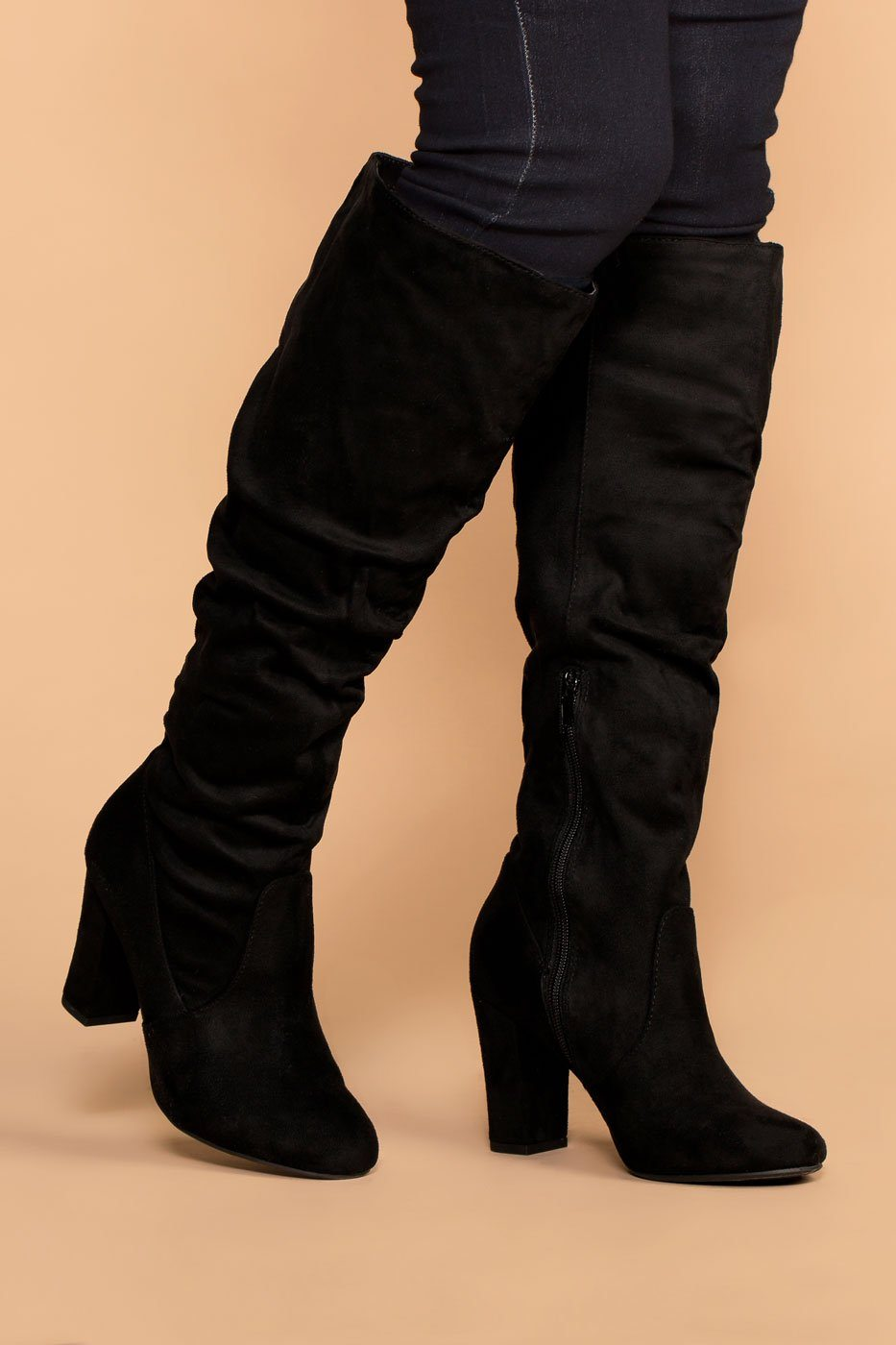 Priceless | Black | Suede Knee High Boots | Womens