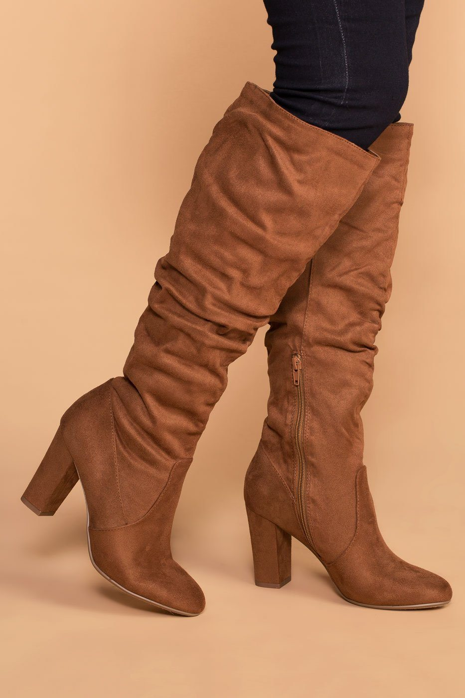 e00b0beb863 Cassia Chestnut Knee High Boots