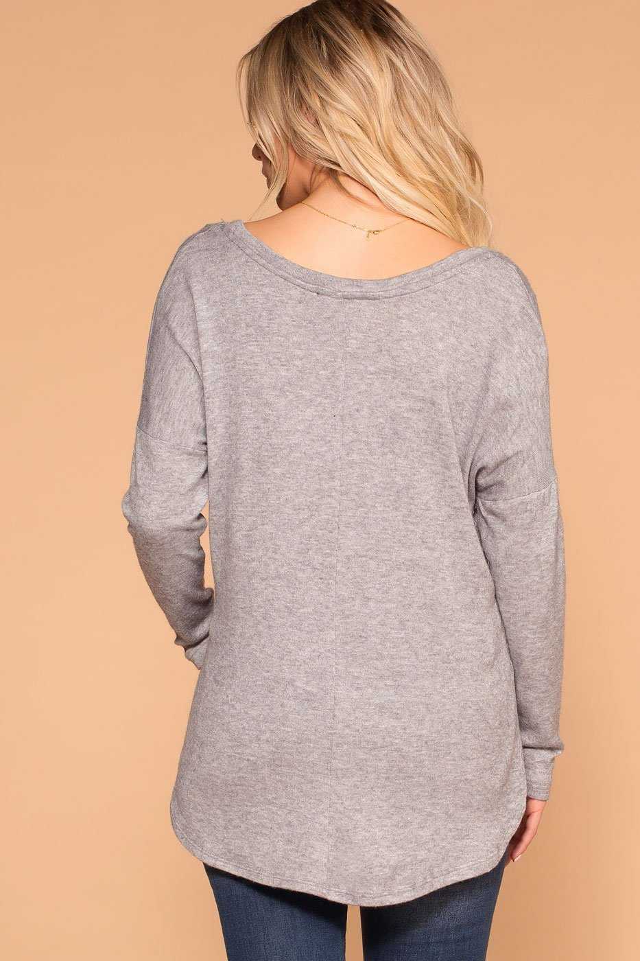 Priceless | Heather Grey | V-Neck Top | Long-Sleeve Top | Womens