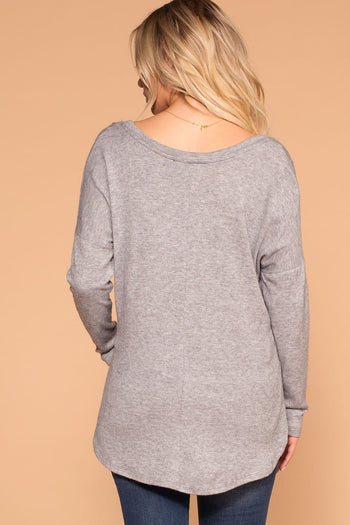 Heather Grey V-Neck Long Sleeve Top