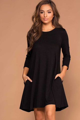 Joya Charcoal Elbow Patch Swing Dress