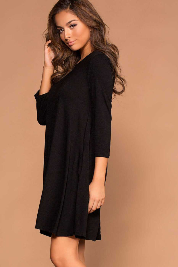 Catching Leaves Swing Pocket Dress - Black | Shop Priceless