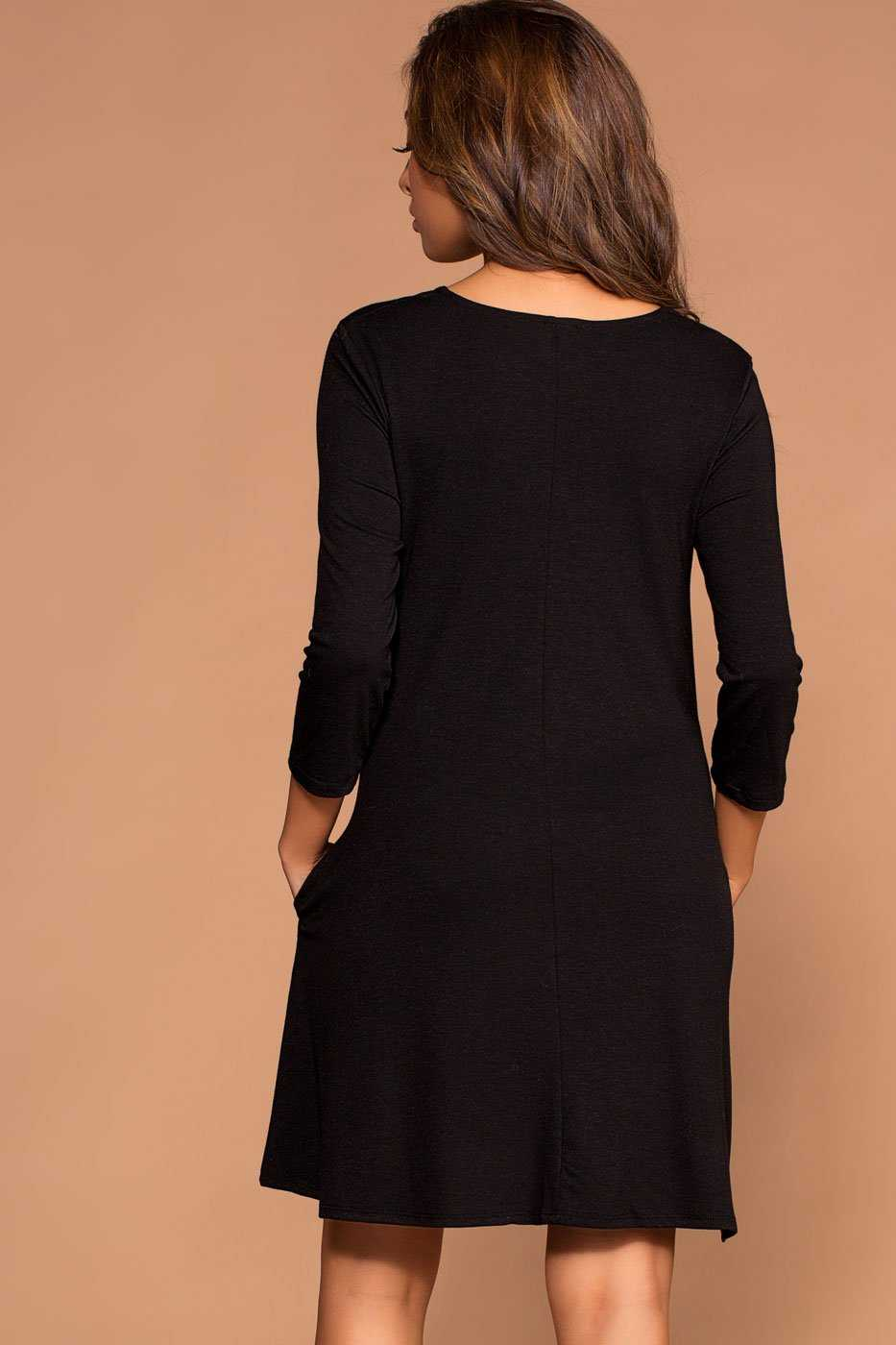 Catching Leaves Swing Pocket Dress - Black