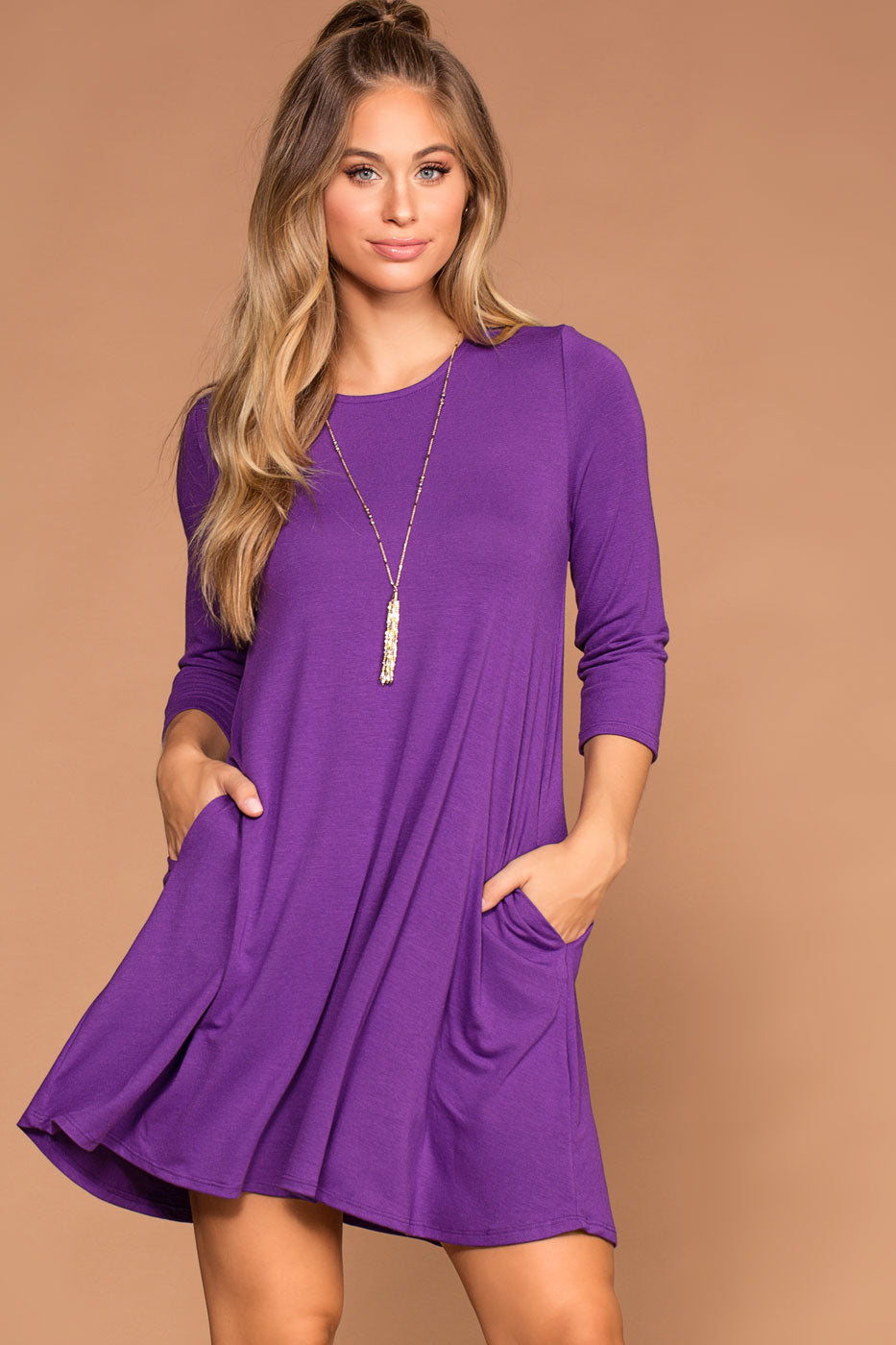 Catching Leaves Swing Pocket Dress - Purple | Zenana