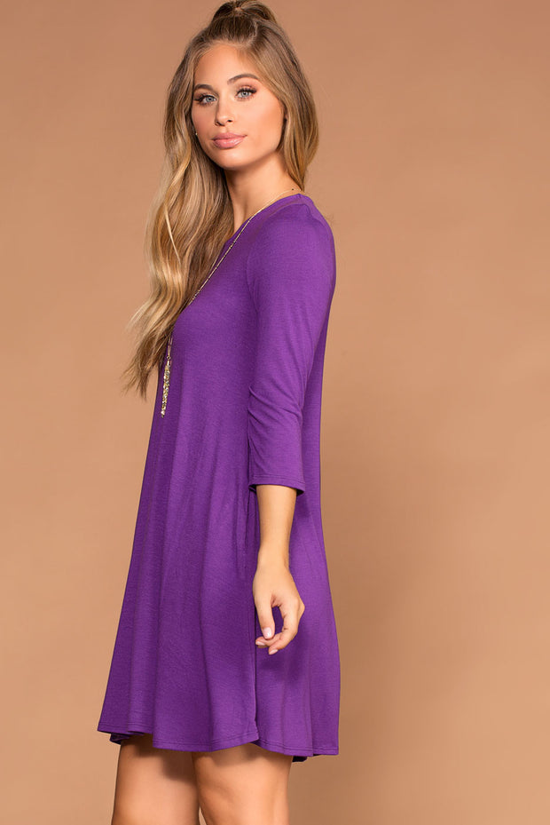 Purple Swing Pocket Dress